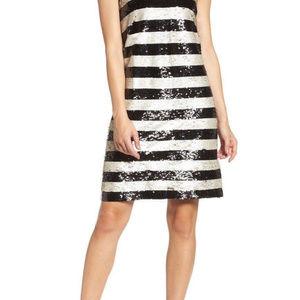 Eliza J Reversible Stripe Sequin Shift Dress S.10